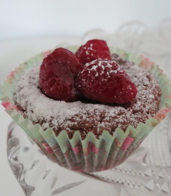 Ljuvliga hallon/chokladmuffins